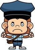 Portador de correio irritado Monkey dos desenhos animados ilustração do vetor