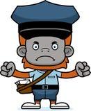 Portador de correio irritado Orangutan dos desenhos animados ilustração stock
