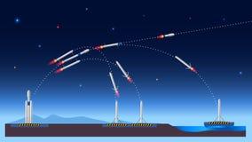 Portador reutilizable pesado del cohete de los E.E.U.U. Halcón en espacio Lanzamiento, etapa de la separación, aterrizaje Esquema ilustración del vector