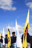 PORTADORES de INDICADOR EN el 28vo cuarto DÍA NACIONAL Imagen de archivo