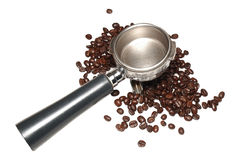 Portafilter and arabica seeds Stock Photos