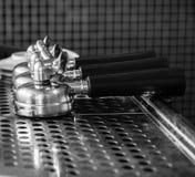 Portafilter on espresso machine Stock Photos