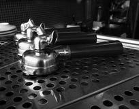 Portafilter on espresso machine Royalty Free Stock Photos