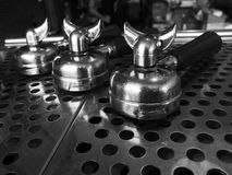 Portafilter on espresso machine Royalty Free Stock Image