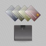 Portafogli e carte di credito Illustrazione di Stock