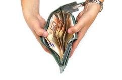 Portafoglio aperto della donna in pieno di euro contanti Fotografie Stock Libere da Diritti