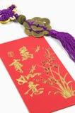 Portafoglio cinese e decorazione dei soldi immagine stock