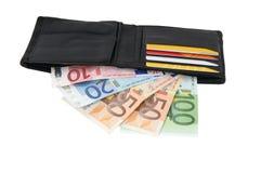 Portafoglio con contanti e le carte di credito Fotografia Stock Libera da Diritti