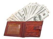 Portafoglio con i dollari Fotografia Stock Libera da Diritti