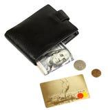 Portafoglio con i dollari ed i centesimi di plastica della carta Fotografie Stock Libere da Diritti