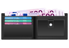 Portafoglio con la banconota dell'euro cinquecento Immagine Stock