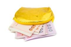 Portafoglio con le banconote della Tailandia Fotografie Stock Libere da Diritti