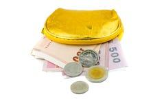 Portafoglio con le banconote della Tailandia Fotografie Stock