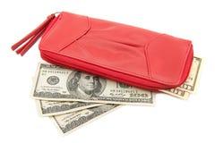 Portafoglio con le banconote in dollari Immagini Stock Libere da Diritti