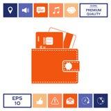 Portafoglio con le carte di credito dentro l'icona Fotografia Stock