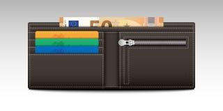 Portafoglio con le carte di credito e le banconote Fotografia Stock
