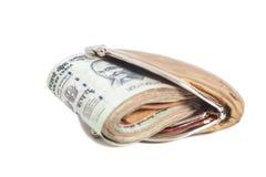 Portafoglio con le note indiane di valuta Immagini Stock
