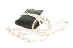 Portafoglio con nastro adesivo di misurazione Fotografie Stock