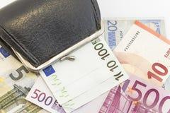 Portafoglio con soldi su bianco Fotografie Stock Libere da Diritti
