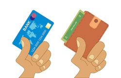 Portafoglio della tenuta della mano Carta di credito della holding della mano Illustrazione di riserva di vettore illustrazione vettoriale
