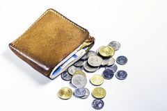 Portafoglio di Brown con soldi e la moneta Fotografia Stock