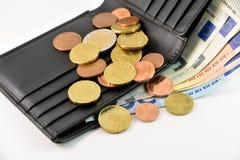 Portafoglio e soldi dell'euro Fotografia Stock