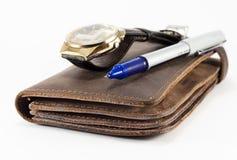 Portafoglio, orologio e penna Fotografia Stock Libera da Diritti