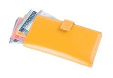 Portafoglio. portafoglio della donna con soldi su un fondo Immagini Stock