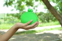 Portafoglio verde Fotografia Stock
