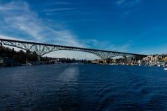 Portage海湾修理了桥梁清除的127英尺 免版税库存照片