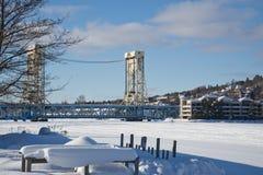 Portage运河升降吊桥在冬天 库存照片