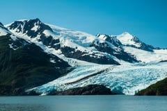 Portage glaciär som sett från Portage sjön royaltyfria foton