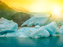 Portage Glacier melting. Melting of the famous Portage Glacier in Portage Lake near Anchorage, Alaska, United States. Concept of climate change and global Stock Photos