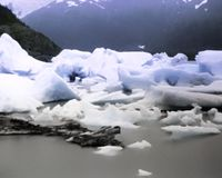 Portage Glacier outside Anchorage Alaska. Ice formations, Photo taken circa 1980 stock photography