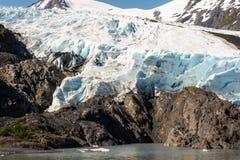 Portage Glacier Terminus. As seen from Portage Lake Stock Photos