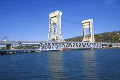 The Portage Lake lift bridge, Houghton-Hancock Bridge in Hancock, Michigan Stock Image