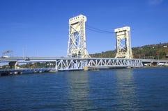 The Portage Lake lift bridge, Houghton-Hancock Bridge in Hancock, Michigan Stock Image