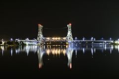 The Portage Lake Lift Bridge. The worlds heaviest and widest double decked vertical lift bridge Stock Photo