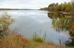 Portage Lake Panorama - North Central Minnesota. Panoramic autumn vista on a scenic tranquil lake in north central Minnesota royalty free stock image