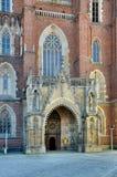 Portail gothique de cathédrale de Wroclaw photographie stock