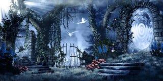 Portail magique dans le jardin abandonné illustration libre de droits