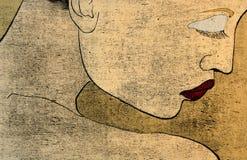 portait妇女woodprint 免版税图库摄影