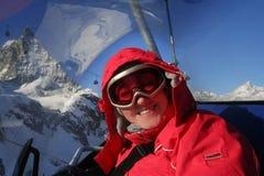 portait滑雪者冬天 免版税库存照片