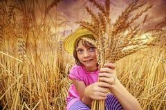 Portait девушки в пшеничном поле Стоковое Изображение RF