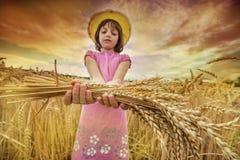 Portait девушки в пшеничном поле Стоковое Изображение