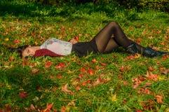 Portait осени, симпатичная девушка Стоковое Изображение