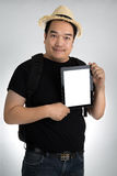 Portait asian man with tablet Royalty Free Stock Photo