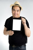 Portait asian man with tablet Stock Images