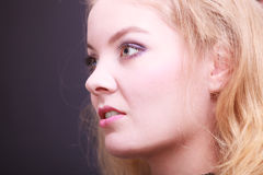 Portait of beautiful blond girl. Closeup of face. Stock Image