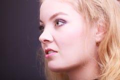 Portait of beautiful blond girl. Closeup of face. Stock Image